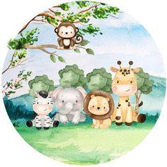 Kids Watercolor, Watercolor Animals, Safari Party, Safari Theme, Safari Animals, Woodland Animals, Free Baby Shower Invitations, Safari Decorations, Kids Graphics