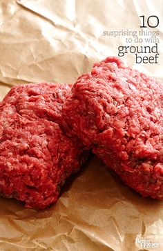 10 Surprising Things to do with Ground Beef: Break the ground beef routine with tasty twists on your favorite weeknight dinners. Hamburger Recipes, Ground Beef Recipes, Meat Recipes, Cooking Recipes, Hamburger Meat Dishes, Cooking Beef, Beef Dishes, Food Dishes, Main Dishes