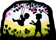 Fensterschmuck - Fensterbild Kinder Schaukel Transparentbild - ein Designerstück von Juliane-Buness bei DaWanda