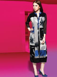 Black Rayon Designer Readymade Kurti 82780