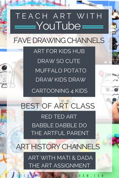 YouTube for art? You bet! My kids have shown me the wonders of using YouTube to find out how to do something. Art is no different. Check out these favorites YouTube art channels! There are channels just for learning to draw tutorials, art history, and channels that are like a great art class- a little of everything!