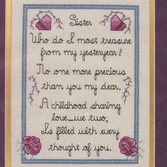 Sister Love Poem Prayer Sandi Phipps 669 Counted Cross Stitch KIt 6.5x9 10x13 #SandiPhipps #Picture
