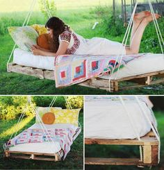 Pallet Swing Bed..I wonder how you'd keep bugs from living inside the mattress, though. Perhaps make (or buy if some place sells it) a water-proof cover with zipper. Then just put a fitted sheet over that cover and a blanket on top? Hmm..fun ideas!