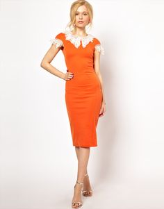 Lydia Bright Pencil Dress with Lace Collar and Sleeve Detail--- need this addition to my wardrobe
