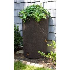 Good Ideas Impressions 90 Gallon Bark Rain Saver - Oak