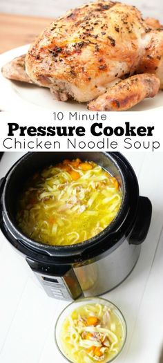 10 Minute Pressure Cooker Chicken Noodle Soup - Clever Pink Pirate 10 Minute Pressure Cooker Chicken Noodle Soup - take your leftover rotisserie chicken and make this soup in your pressure cooker or Instant Pot in 10 minutes! Chicken Noodle Soup Rotisserie, Chicken Soup Recipes, Recipe Chicken, Instapot Chicken Soup, Hamburger Recipes, Pressure Cooker Chicken Soup, Instant Pot Pressure Cooker, Chicken Cooker, Pressure Cooker Pho