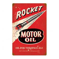 Bring a dash of the space age of the 1950s to your garage or office with the Rocket Space Age Motor Oil Metal Sign. This steel wall sign features a vintage ad for auto lubricant with a sleek rocket blazing a path toward a future full of promise and progress! Measures 12