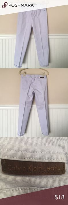 "Calvin Klein Jeans Calvin Klein skinny cropped jeans. Lavender. Measurements approximately: Inseam 26 1/2"", waist 32 1/2"", rise 9"". Content 97% cotton/3% elastane exclusive of decoration. Calvin Klein Jeans Jeans Ankle & Cropped"