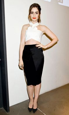 Lily Collins wearing the ANOUK pump