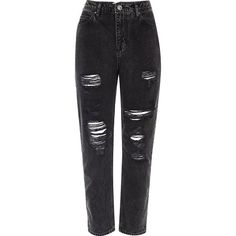 River Island Black wash ripped Mom jeans ($31) ❤ liked on Polyvore featuring jeans, pants, distressed denim jeans, distressed jeans, high rise skinny jeans, high waisted distressed jeans and high-waisted skinny jeans