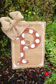 Polka Dotted Monogram Initial Burlap Garden Flag via Etsy