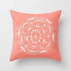Coral Bohemian Throw Pillow Cover, coral throw pillow, dorm pillow, boho pillow…