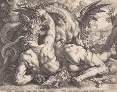 Hendrick Goltzius (Netherlands 1558–1617)    after Cornelis van Haarlem (Netherlands 1562–1638)    The dragon devouring the companions of Cadmus    1588, Engraving
