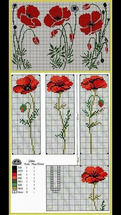 Poppies Cross Stitch Kit from Classic Embroidery Cross Stitch Bookmarks, Cross Stitch Charts, Cross Stitch Designs, Cross Stitch Patterns, Loom Beading, Beading Patterns, Embroidery Patterns, Cross Stitching, Cross Stitch Embroidery