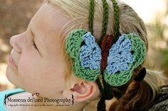 Make a Springtime Butterfly #Crochet Adjustable Headband by PurdyThings. Add a butterfly to your plain headbands for a whole new look.