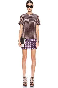 Victoria Victoria Beckham|Silk Tee Mini Dress in Yellow Checker Print