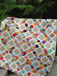 "Loving the Scrappy Sandwiches quilt by Susan Snooks from Patchwork N Play. ""I used (almost)the last of my Aurifil #28 wool thread to quilt the centres of the sandy coloured squares!"" To see more please visit http://patchworknplay.blogspot.com/2014/05/i-didnt-want-to-finish.html"