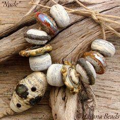 NUDE  Handmade Lampwork Bead Set  11 Beads by HavanaBeads.etsy.com