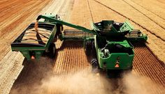 Fall Harvest with John Deere harvester, tractor and overloader. Jd Tractors, John Deere Tractors, John Deere Equipment, Heavy Equipment, New Holland, John Deere Combine, Combine Harvester, Agriculture Farming, Engin