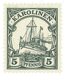 A Yacht issue (small design) stamp for the German Caroline Islands.