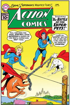 "Superman: Action Comics - Superman, Supergirl, Streaky, Krypto in ""The Battle of the Super-Pets!"" Photo at AllPosters.com"