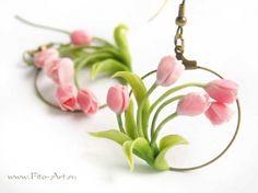 Весенние серьги с розовыми тюльпанами  amazing earrings from Fito-Art