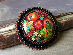 Bead embroidered Brooch Beadwork Brooch Flower by MisPearlBerry, $48.00