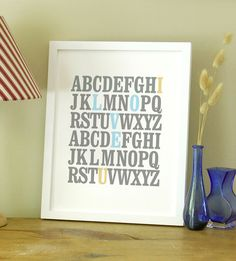8x10 ABC Print. I love you. Alphabet Love. Typography Print. Light blue and tan - 105. $9.00, via Etsy.