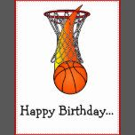 "This card is for saying ""Happy Birthday!"" from the whole gang. For matching items type ""penguincornerstore basketball"" into the Zazzle search bar."