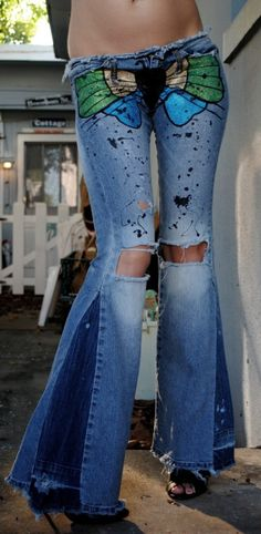 Bell bottom jeans for women, Painted jeans for wom