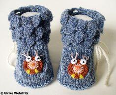 Babyschuhe Eule Handarbeit aus Sockenwolle von strickliene auf DaWanda.com