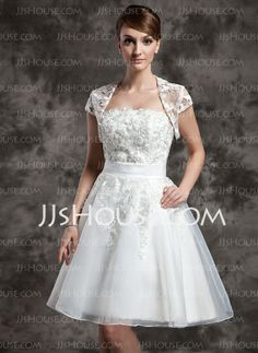 Wedding Dresses - $142.99 - A-Line/Princess Strapless Knee-Length Organza Wedding Dress With Lace (002024081) http://jjshouse.com/A-Line-Princess-Strapless-Knee-Length-Organza-Wedding-Dress-With-Lace-002024081-g24081