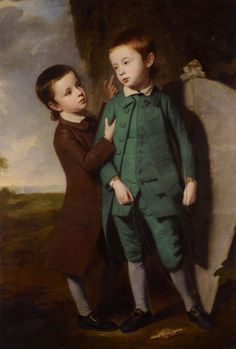 George Romney (1734-1802) Portrait of Two Boys with a Kite