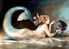 A mermaid painting by Omar Rayyan.
