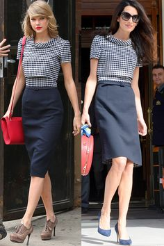The twins: Taylor Swift and Amal Clooney The tell-tales: Oscar de la Renta frocks, ladylike handbags and a delicate pump - HarpersBAZAAR.com