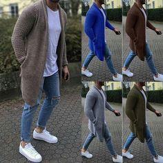 Men Knitted Cardigan Sweaters Casual Long SleevE plus sizes – Libby Owens Store Mens Long Cardigan, Long Sleeve Sweater, Sweater Cardigan, Men Sweater, Mens Knitted Cardigan, Jacket Outfit, Casual T Shirts, Street Wear, Ebay