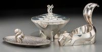 Three Art Deco Silver-Plated and Chrome Table Items with Squirrel Motifs, first half 20th century 5-3/4 inches hig