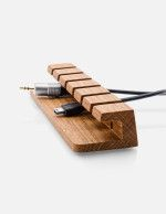 Wooden cable and charger organizer. #desk #organisation #wood #cablemanagement