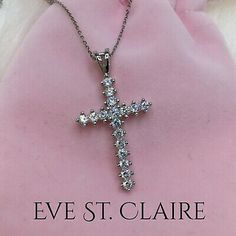 Stainless steel clear simulated diamond cross vintage style soft gothic pendant