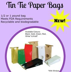 These bags have a flat bottom and an easy to use tin tie closure. Direct food contact is safe as those bags meet FDA requirements. Each bag has a laminated clear liner. Paper tin tie bags are available in green, red, gold and black glossy finish. The bags are recyclable and biodegradable at Noble Gift Packaging