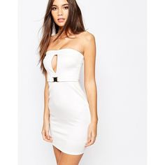 Oh My Love Bandeau Buckle Bodycon Dress With Cut Out ($17) ❤ liked on Polyvore featuring dresses, cream, keyhole bodycon dress, bodycon cocktail dress, cut out bodycon dress, cut out dresses and white cut out dress