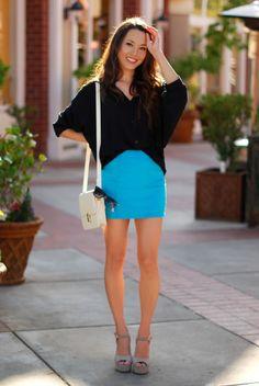 dark top with neon skirt