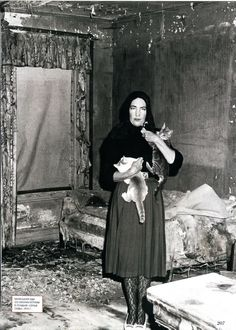 Edith Bouvier Beale (little edie) socialite of Grey Gardens with her beloved cats