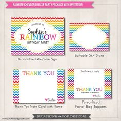 Chevron rainbow printable package (thank you post card + welcome sign)