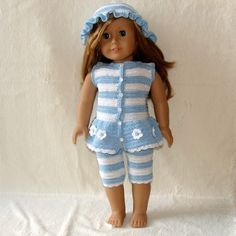 PDF Crochet Pattern - Tights, Top and Hat to American Girl Doll or similar 18 inch Doll., via Etsy.