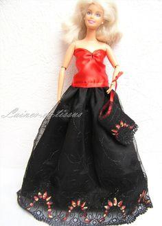 Robe de soirée pour poupée Barbie : Jeux, jouets par laines-et-tissus