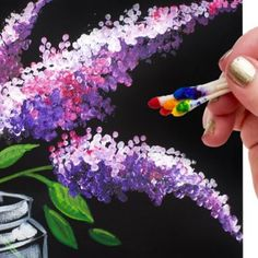 Lilac in Mason Jar Q Tip Painting for Beginners Tutorial 🌷🎨💜 - Canvas Painting Q Tip Painting, Lilac Painting, Canvas Painting Tutorials, Acrylic Painting Flowers, Easy Canvas Painting, Simple Acrylic Paintings, Acrylic Painting Techniques, Beginner Painting, Painting Lessons