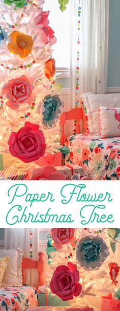 Create a whimsical and colorful Christmas tree decorated with a rainbow of giant paper flowers. #christmastree #colorfulchristmas #christmas #paperflowers