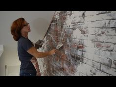 DIY German smear or schmear brick wall tutorial. See how to make a german smear brick plastered wall on faux brick or real brick. Step by step instructions t. Faux Brick Walls, Brick Paneling, Do It Yourself Decorating, Do It Yourself Home, Decorating Ideas, Faux Murs, Paint Fireplace, Brick Fireplaces, Farmhouse Fireplace