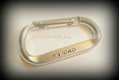 Fathers Day Gift - Hand Stamped Aluminum Carabiner- Personalized For Him Fathers Day